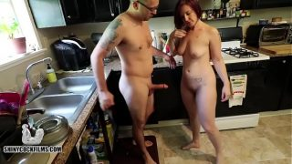 Hotwife Cuckolds Her Worthless Husband Shiny Cock in tight pussy