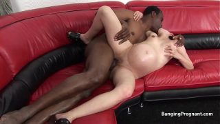 Huge pregnant swollen bellied chick rides black cock