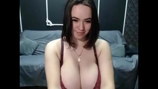 Pregnant lived strip showing her big tits