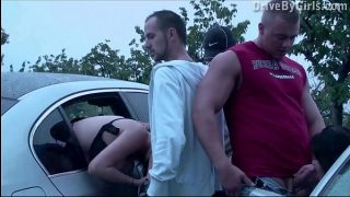 Public dogging meeting with 2 girls and several strangers